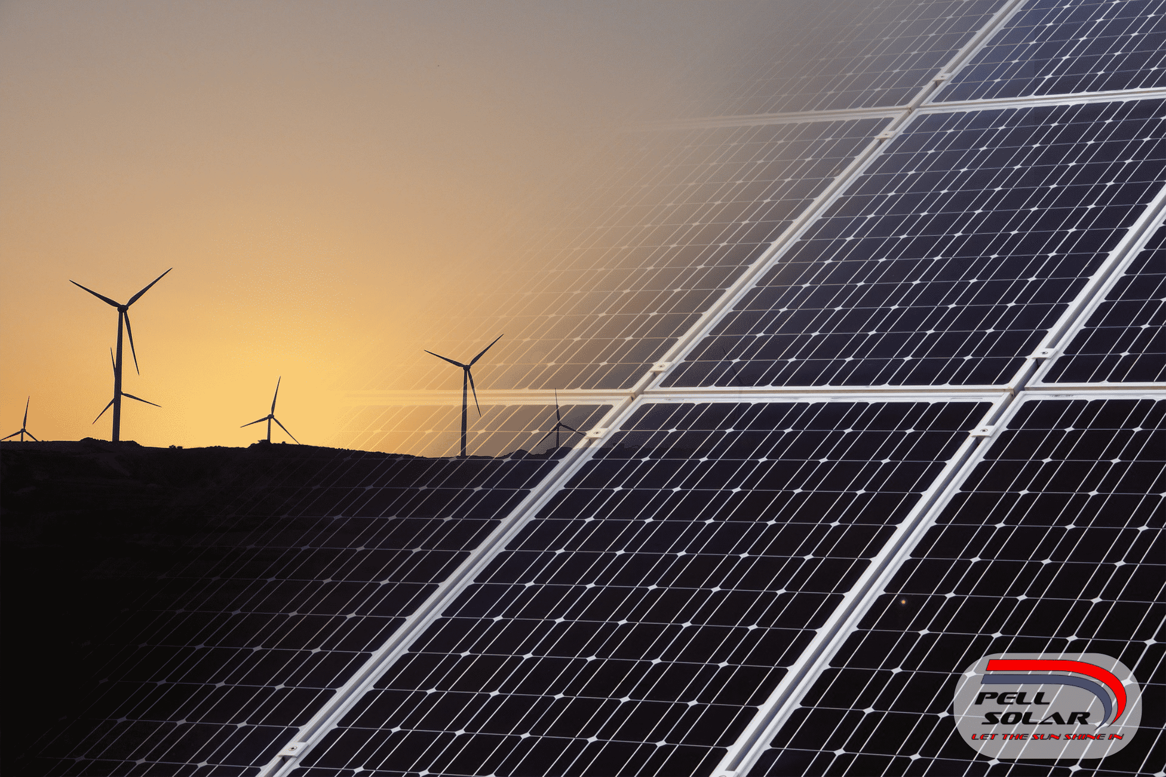 Solar Panel in front of wind turbines